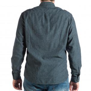 Синя мъжка риза Regular fit с пагони  2