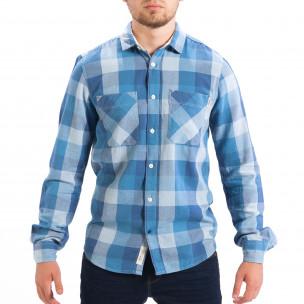 Мъжка риза CROPP Regular fit синьо каре