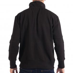 Мъжки черен суичер RESERVED с общ джоб 2