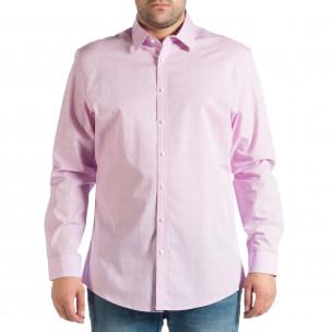 Мъжка лилава риза на фино каре