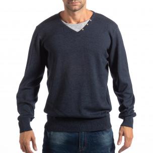 Мъжки син пуловер House с двойно деколте