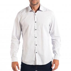 Slim бяла риза RESERVED с десен и лакти