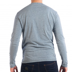Мъжка блуза в син меланж с копчета  2