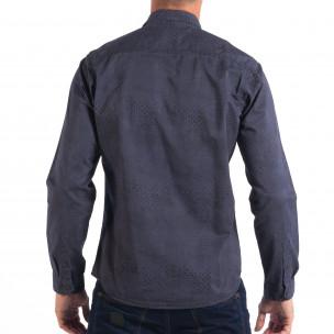 Regular риза в синьо с дребен десен 2