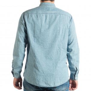 Мъжка дънкова риза Slim fit с десен  2