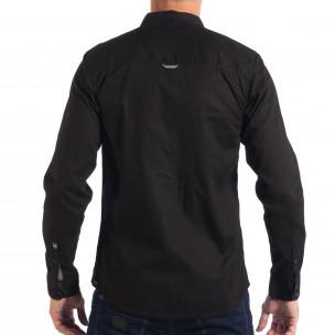 Мъжка риза с контрастен джоб CROPP в черно  2