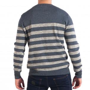 Мъжки син пуловер на широко райе 2