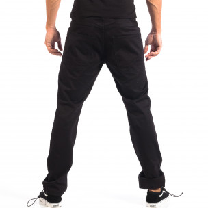 Мъжки черен панталон CROPP с ластик на крачолите  2