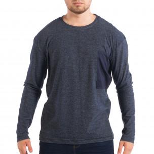 Мъжка блуза RESERVED в син меланж с джоб
