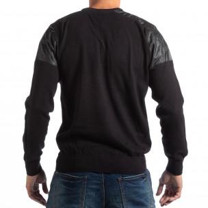 House пуловер в черно с кожени детайли  2