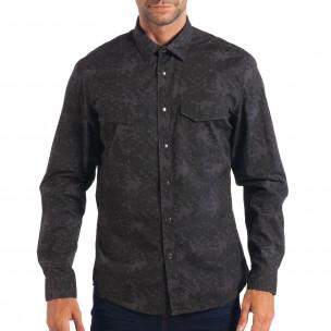 Мъжка риза сив камуфлаж