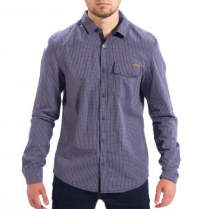 Мъжка карирана риза CROPP Slim fit в синьо