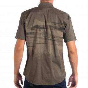 Зелена риза с къс ръкав Slim fit RESERVED с принт  2