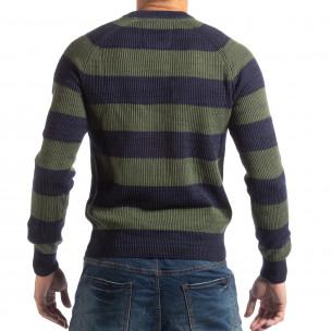 Раиран мъжки пуловер RESERVED в синьо и зелено 2
