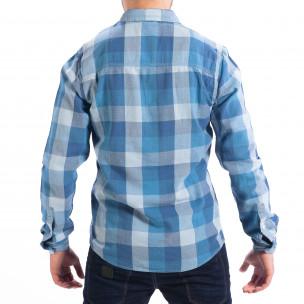 Мъжка риза CROPP Regular fit синьо каре  2
