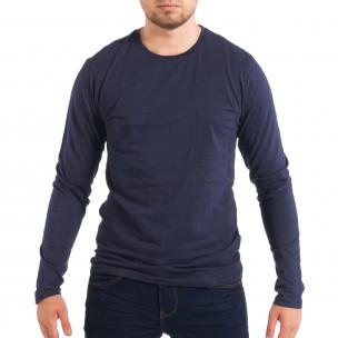 Мъжка синя блуза с джоб