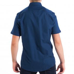 Regular риза с къс ръкав RESERVED в морско синьо  2