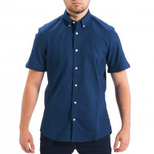 Regular риза с къс ръкав RESERVED в морско синьо
