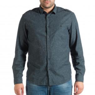 Синя мъжка риза Regular fit с пагони