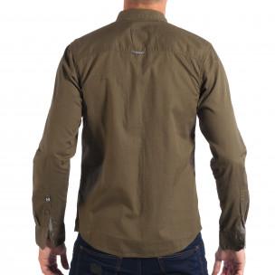 Мъжка риза с контрастен джоб CROPP в зелено  2