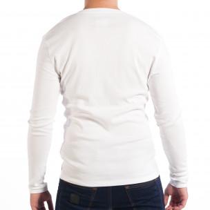 Еластична мъжка блуза House в бяло 2