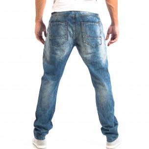 Мъжки сини дънки House с изтъркан ефект  2