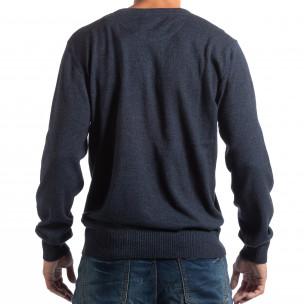 Мъжки син пуловер House с двойно деколте 2