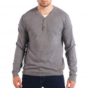 Сив мъжки пуловер RESERVED с двойно деколте