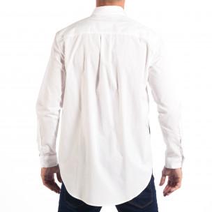Мъжка бяла риза Regular fit с принт  2