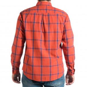 Мъжка риза с копчета на яката RESERVED в червено каре  2