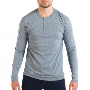 Мъжка блуза в син меланж с копчета