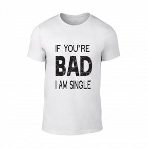 Мъжка бяла тениска Bad, размер L
