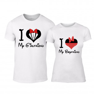 Тениски за двойки Mickey & Minnie Love бели TEEMAN