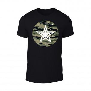 Мъжка черна тениска Military Srar TEEMAN