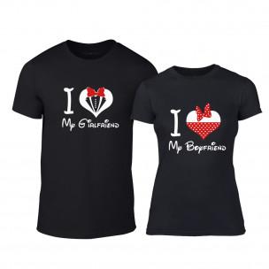 Тениски за двойки Mickey & Minnie Love черни TEEMAN