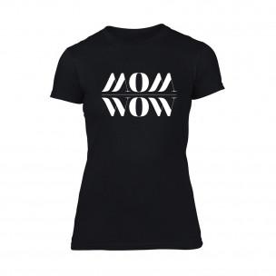 Дамска черна тениска Mom Wow