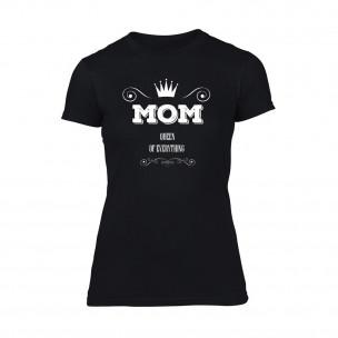 Дамска черна тениска Mom Queen Of Everything