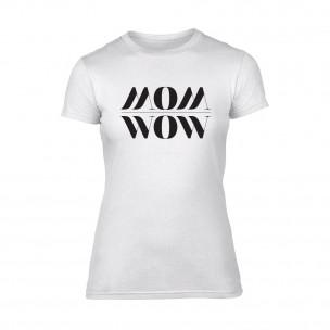 Дамска бяла тениска Mom Wow