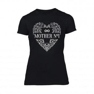 Дамска черна тениска Mother No.1