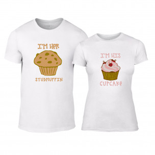 Тениски за двойки Muffin Cupcake бели