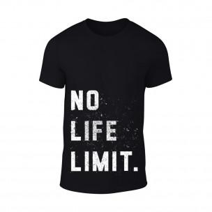 Мъжка черна тениска No Life Limit TEEMAN