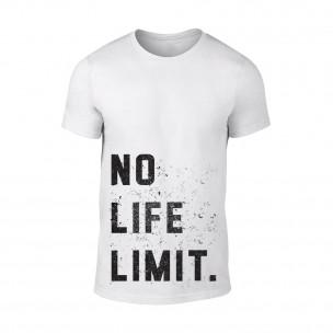 Мъжка бяла тениска No Life Limit TEEMAN