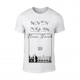 Мъжка бяла тениска New York