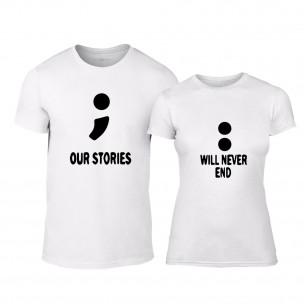 Тениски за двойки Our Stories бели TEEMAN