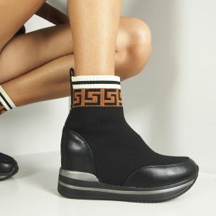 Дамски черни боти чорап с вградена платформа 2