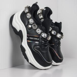 Черни дамски маратонки с камъни