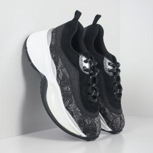Дамски обемни маратонки в черно и сребристо  2