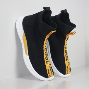Мъжки slip-on маратонки чорап с жълти надписи в черно