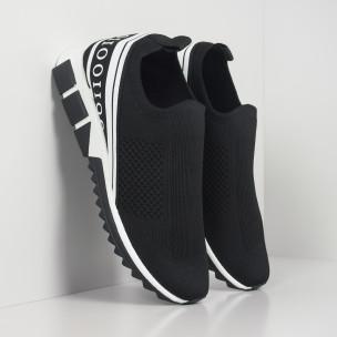 Slip-on черни мъжки маратонки бял кант