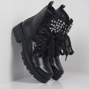 Черни дамски боти с камъни полирана кожа
